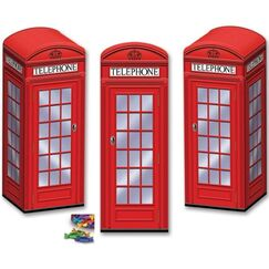 Red Phone Box Centrepieces or Favour Boxes - pk3