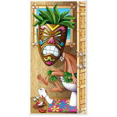 Tiki Luau Toilet Door Cover