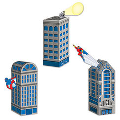 Hero Cityscape Centrepieces or Favour Boxes - pk3