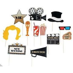 Movie Night Photo Stick Props - pk12