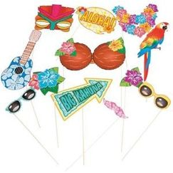 Luau Costume Photo Stick Props - pk12