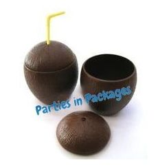 Brown Plastic Coconut Cups - pk12