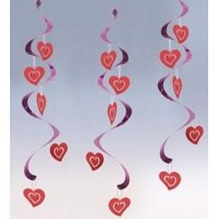 Red Hearts Dizzy Danglers - pk5
