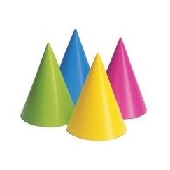 Mixed Neon Colours Cone Hats - pk8