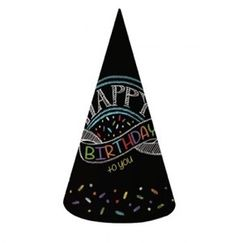 Chalkboard Birthday Cone Hats - pk8