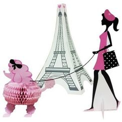 3D Party In Paris Stand Up Centrepieces Set