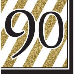 Large 90 Black & Gold Napkins