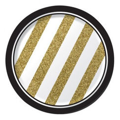Black & Gold Snack Plates - pk8