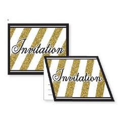 Black & Gold Invitations - pk8