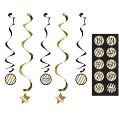 Black & Gold Dizzy Danglers - pk5