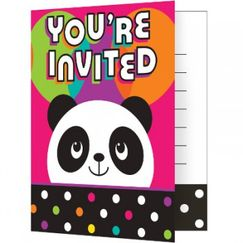 Panda Monium Party Invitations for 8
