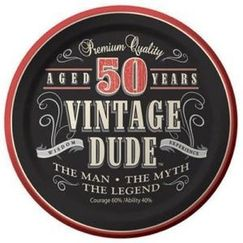 Vintage Dude 50th Snack Plates