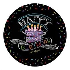Large Chalkboard Happy Birthday Plates