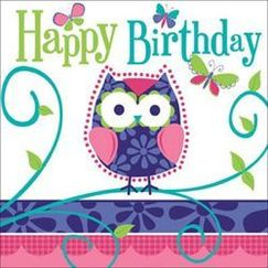 Large Owl Pal Birthday Napkins