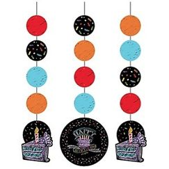 Chalkboard Birthday Hanging Cut-outs - pk3