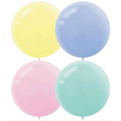 Assorted Pastel 60cm Round Balloons - pk4