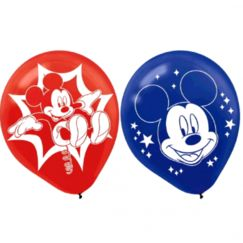 Red & Blue Mickey Mouse Balloons - pk6