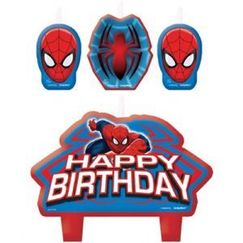 Spiderman Birthday Candles - pk4