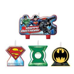 Justice League Birthday Mini Candles - pk4
