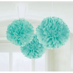 Hanging Robins Egg Blue Fluffy Balls - pk3