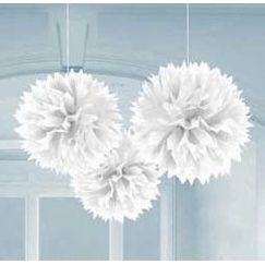 Hanging White Fluffy Balls - pk3