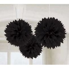 Hanging Black Fluffy Balls - pk3