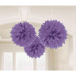 Hanging Purple Fluffy Balls - pk3