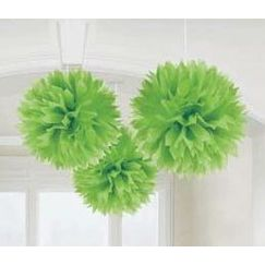 Hanging Lime Green Fluffy Balls - pk3
