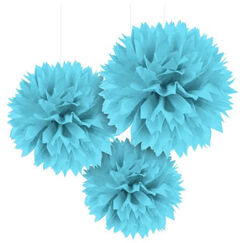 Hanging Blue Fluffy Balls - pk3