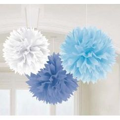 Hanging Blue and White Fluffy Balls