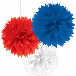 Hanging Red White and Blue Fluffy Balls