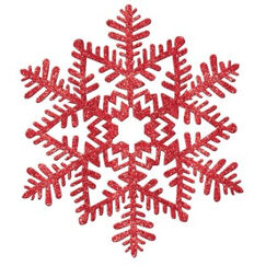 Moulded Plastic Red Glitter Snowflake- Each
