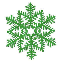 Moulded Plastic Green Glittered Snowflake - Each