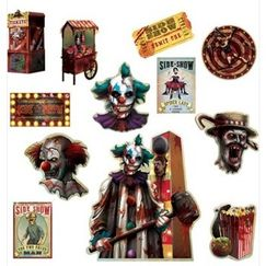 Creepy Carnival Sideshow Cut-outs - pk12