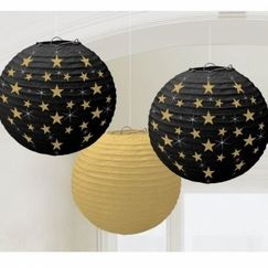 Hollywood Black & Gold with Stars Lanterns - pk3