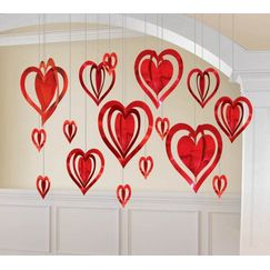 Hanging 3D Red Hearts - pk16