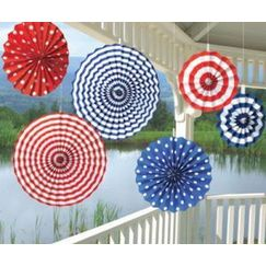 Red White Blue Hanging Fans - pk6