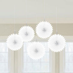 White Mini Fan Decorations - pk5