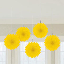 Yellow Mini Fan Decorations - pk5