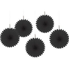 Black Mini Fan Decorations - pk5