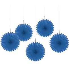 Royal Blue Mini Fan Decorations - pk5