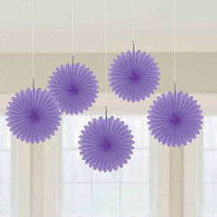 Purple Mini Fan Decorations - pk5