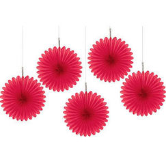 Red Mini Fan Decorations - pk5