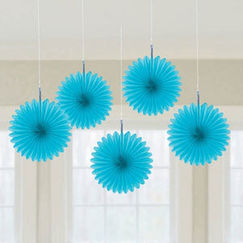 Bermuda Blue Mini Fan Decorations - pk5