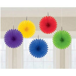 Rainbow Mini Fan Decorations - pk5