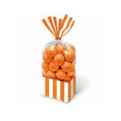 Orange and White Stripes Cello Bags - pk10