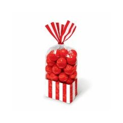 Red and White Stripes Cello Bags - pk10