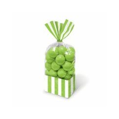 Kiwi Green and White Stripes Cello Bags - pk10