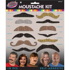 Assorted Moustaches Kit - pk12