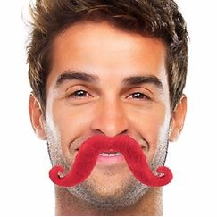 Red Handlebar Moustache - Each